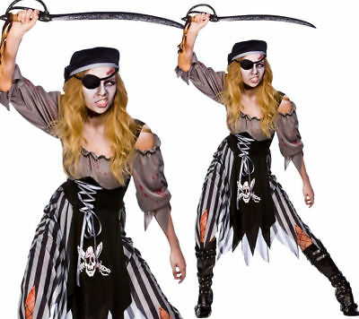 Ladies Zombie Pirate Costume Cutthroat Ghost Halloween Fancy Dress Adult UK 6-24