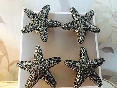 Large Metal Starfish Doorknobs Cupboards Door Pulls Set of 4 Doorknob 6300 - 1