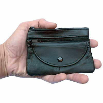 Mens & Ladies | SMALL REAL Leather Coin Purse - Key Wallet | THREE Zips + Button