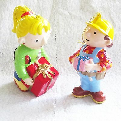 Lot of 2 Bob The Builder & Wendy Holding Christmas Presents Christmas Ornaments