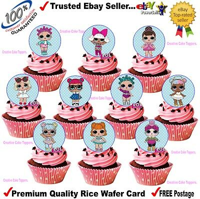 Edible Rice Wafer Card LOL SURPRISE DOLLS Birthday Cup Cake Toppers Decorations