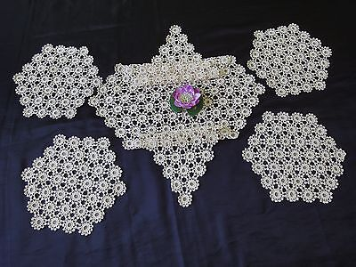Beautiful Vintage SET of 5 PARTS Handmade Ecru Cotton Crochet Tablecloths
