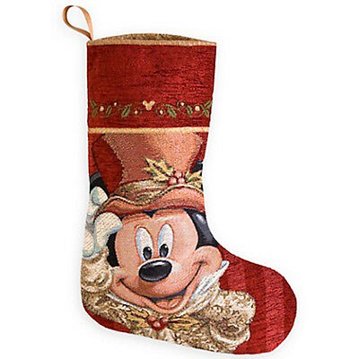 disney christmas holiday stocking victorian mickey mouse face new with tag