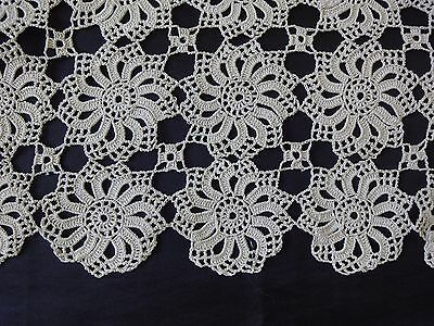 Beautiful Vintage Ecru Cotton Crochet Table Runner with Lovely Floral Motives
