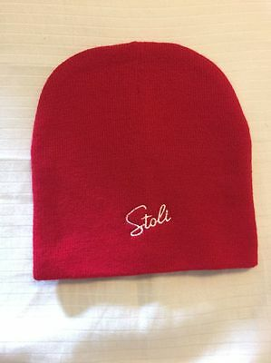 STOLI Vodka  BEANIE  KNIT HAT  Red w/White Stitching One Size