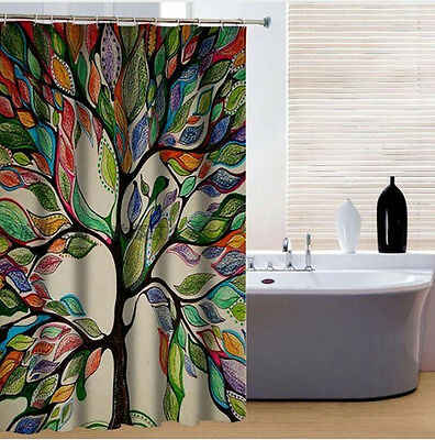 NEW Fashion Polyester waterproof Digital printing colorful tree shower curtain