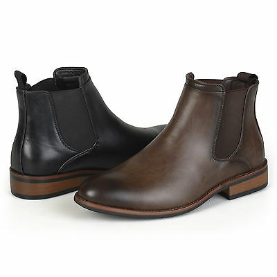 Territory Mens Faux Leather High Top Round Toe Chelsea Dress Boots
