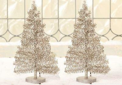 "Bethany Lowe Platinum Sparkle Silver Tinsel Trees 12-1/2"", Set of 2"