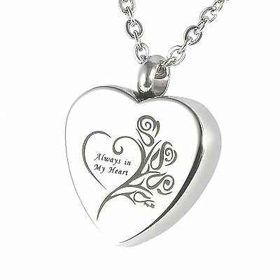 "HOUSWEETY Cremation Jewellery Stainless Steel ""Always in My Heart"" Urn Pendant H"