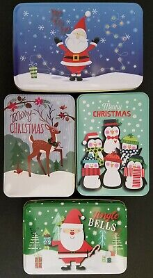CHRISTMAS HOLIDAY COOKIE TINS Nesting Metal Gift Boxes, SELECT: Size & Design