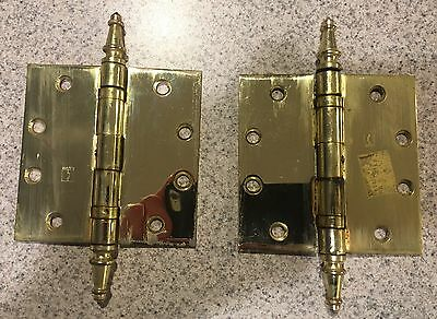 "1 Pair  Vintage 4 1/2"" Brass Plated Steeple Top Hinges"