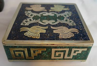 """Vintage Mexican Mixed Metal Stone Inlaid Brass Silver Square Box  4 1/8"""" x 4 1/8"""
