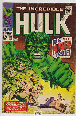 The Incredible Hulk #102 (Apr 1968, Marvel) F+ Hulk Origin D