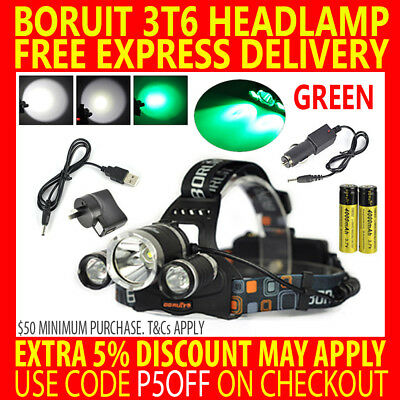 Rechargeable Green Boruit Cree 3T6 11000Lm T6 Xml Led Headlamp Fishing Headlight