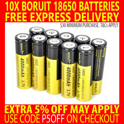 10X GENUINE BORUIT 4000mAh Li-ion 18650 3.7V RECHARGEABLE BATTERIES SET HEADLAMP