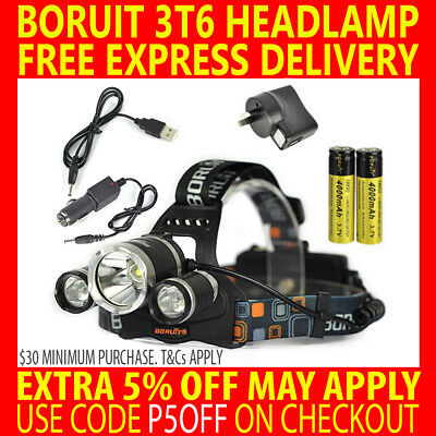 2017 Rechargeable 13000Lm Boruit Cree 3T6 Xml Led Headlamp Headlight Torch Lamp