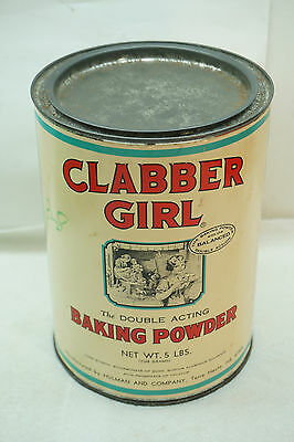 Vintage Baking Powder Tin Clabber Girl Commercial Size 5 Lb Country Store Adver