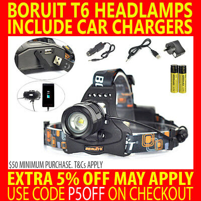Rechargeable Usb Boruit Cree T6 7000Lm Xml L2 Led Headlamp Headlight Torch Lamp