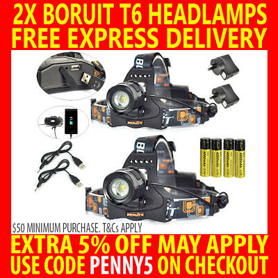 2X Rechargeable Usb Boruit Cree T6 7000Lm Xml Led Headlamp Headlight Torch Lamp