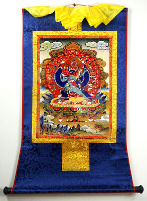 Buddhist Thangka - Printed Yamantaka ( Vajrabhairava ) on Brocade Scroll 24""