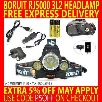 Boruit Rechargeable Cree 13000Lm 3T6 3X Xm-L2 Led Headlamp Torch Usb + Charger
