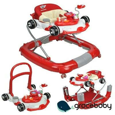F1 Racing Car Themed Red 4-in-1 Baby Walker Play Centre
