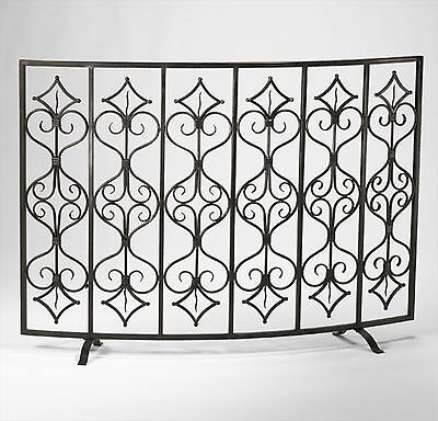 Rustic French Tuscan Curved Fireplace Fire Screen Antiqued Iron Cottage Shabby