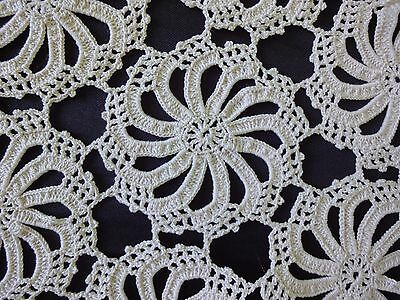 Lovely Vintage Handmade Cotton Crochet Light Ecru Rhomboid Tablecloth