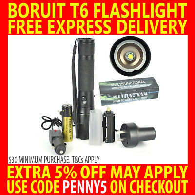 New Boruit Cree Xm-L T6 Led 7000Lm Rechargeable Flashlight Torch Zoomable 18650