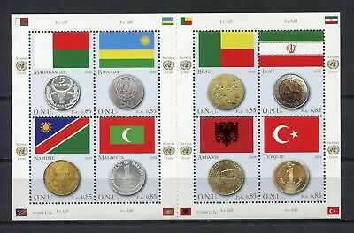 s10567) UNITED NATIONS (GENEVE) MNH** 2008, Flags & coins 8v m/s+lab
