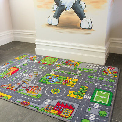 Kids Roads City Toy Map Floor Mat Rug for Cars Play Girls Boys Children Bedroom