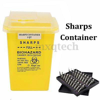 1L Sharps Container Bin Tattoo Medical Biohazard Piercing Needle Collect Box