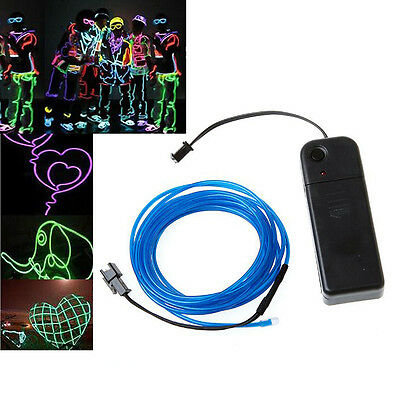 2x(3M Blue Flexible Neon Light EL Wire Rope Tube With Controller CT
