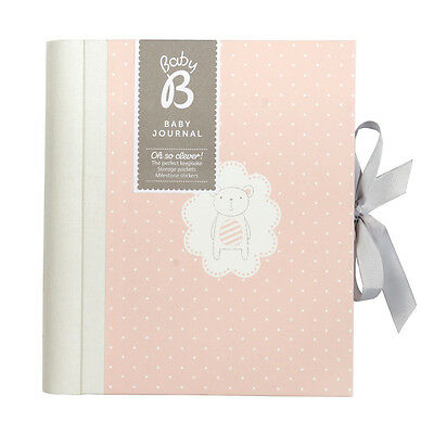 Busy B Girls Pink Baby Record Book Keepsake With Stickers And Ribbon Tie Closure