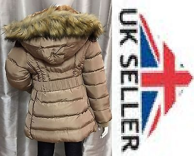 Children's Kids Puffer Faux Fur Trim Hooded Coat  From 4 - 15 Years