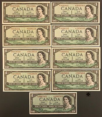 1954 Bank of Canada $1 Replacement Lot of 9 Notes