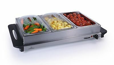 Premium 2 in 1 Extra Large Buffet Warmer & Hot Plate - 3 x 2.5lt capacity and...