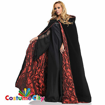Deluxe Adult Gothic Hooded Halloween Fancy Dress Red Lining Black Velvet Cape