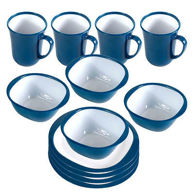 Kampa 12 Piece Dinner Set Blue Made Of A Durable Plastic, Ideal For Camping