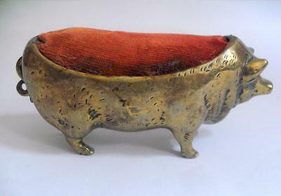 Vintage antique pig pin cushion in the form of a brass metalware 11145