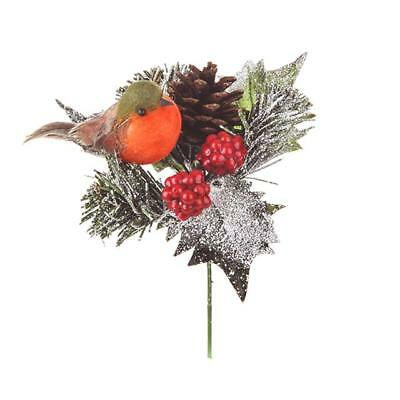Robin Pine Cone Pick - Christmas Picks And Decorations