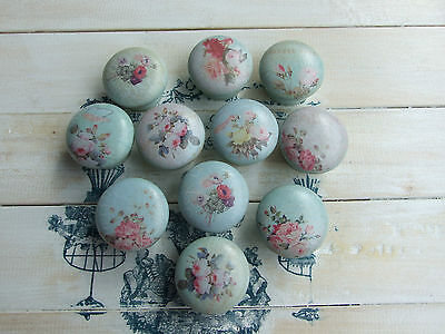 Pastel Flowers Blue And Pinks 'shabby Chic' Style Knobs For Furniture