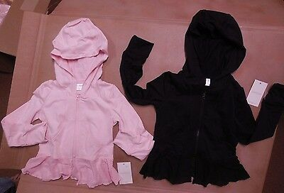 NWT Capezio zip Juliet Peplum Hooded Jacket Black/Pink Castle back 10815C Ballet