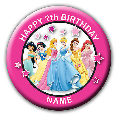 Personalised Disney Princess Birthday Badges / Fridge Magnet / Mirror Gift