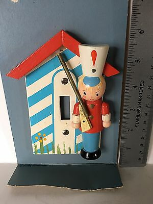 WOODED 3-D WOODEN SOLDIER LIGHT SWITCH COVER VINTAGE 1950-60's ERA CHILD'S ROOM