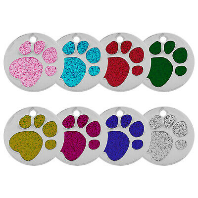 25Mm Glitter Paw Engraved Dog Id Name Tag Disc Personalized Pet Cat Identity