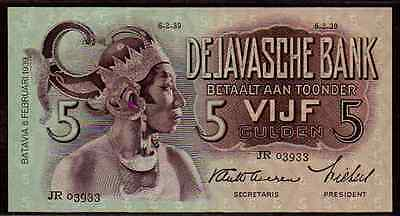 "Netherlands Indies P78 1939 ""Javanese Dancers"" 5 Gulden Raw Almost Uncirculated!"