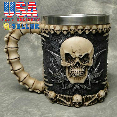 Skull & Bone 3D Skeleton Tankard Mug Cup Coffee Beer Pirate Gothic Halloween E