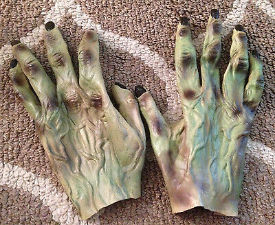 Adult Green Scary Halloween Costume Monster Zombie Gloves Hands
