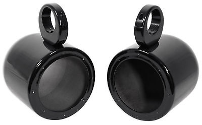 "Pair Rockville MAC65B 6.5"" Black Aluminum Wakeboard Tower Speaker Pod Enclosures"